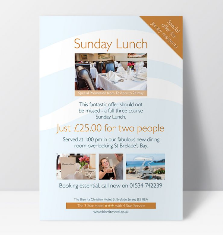 biarritz hotel lunch flyer cue creative
